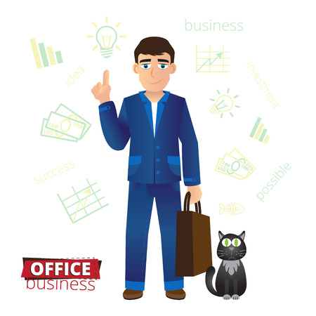 finger fish: Funny cartoon businessman standing with a bag in hand and raises a finger up. Next to him sits a black cat with green eyes and thinks about the fish.  illustration. Illustration
