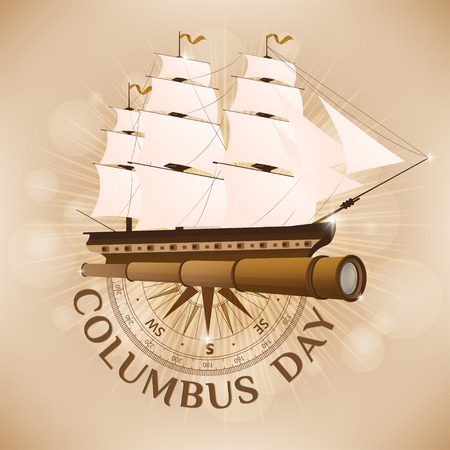 Symbols to Columbus Day. A Collage from an old ship, spyglass and compass.  illustration. Illustration