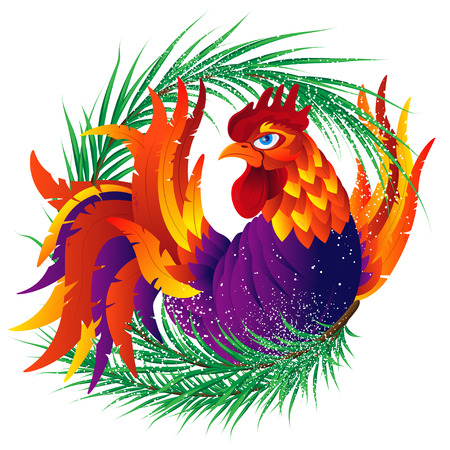 Colorful cartoon rooster with fir branch, symbol of 2017 year by eastern calendar. Isolated on white. Vector Illustration.