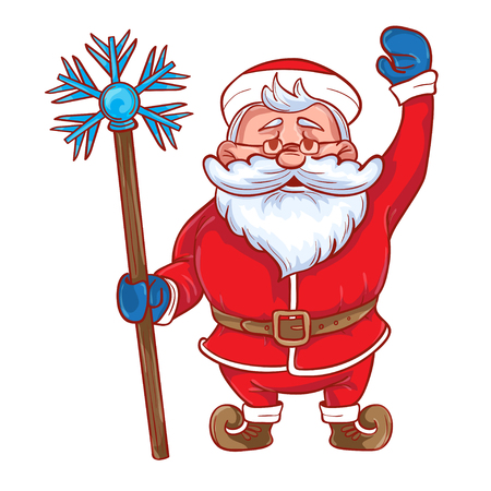moroz: Funny cartoon Santa Claus with a magic stick in his hand. Colored Santa Claus on a white background. Vector illustration.