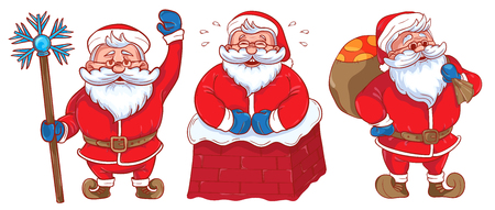 moroz: Set of Funny cartoon Santa Claus. Colored Santa Claus on a white background.