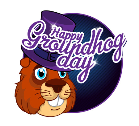 Cartoon Old Groundhog in a hat and the inscription. Illustration