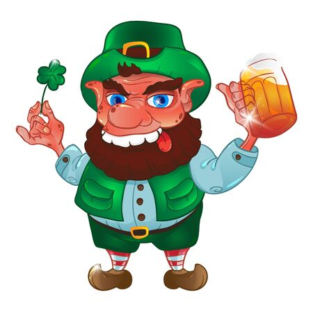 Drunk cartoon leprechaun holds in his hands the Shamrock and bee