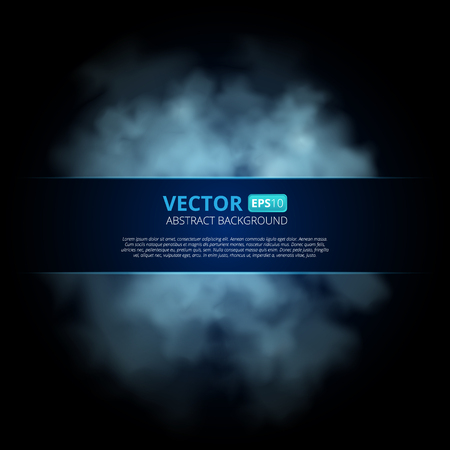 Blue color fog or smoke isolated on transparent background. Vector illustration for your design.