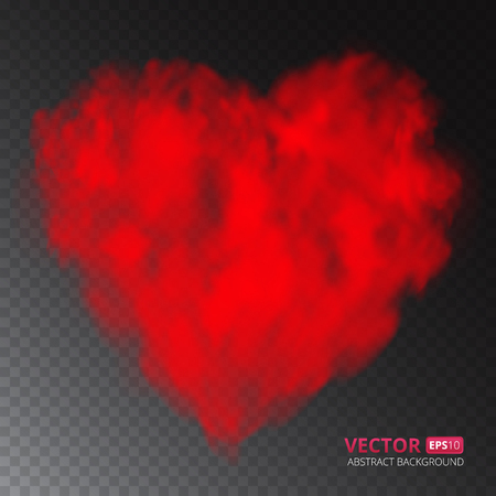 Red heart of fog or smoke isolated on transparent background. Vector illustration for your design. 矢量图像