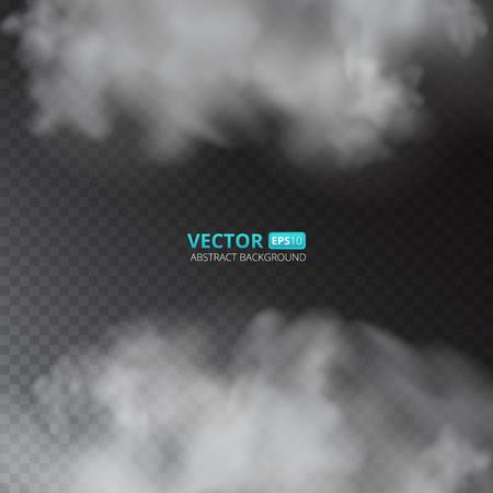 Grey color fog or smoke isolated on transparent background. Vector illustration for your design. Illustration
