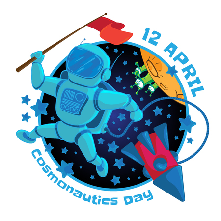 spacesuit: Vector illustration to 12 April Cosmonautics Day. An astronaut or cosmonaut with a red flag in outer space and flying rocket isolated on white background.