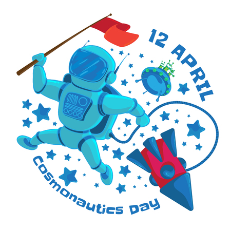 earth day: Vector illustration to 12 April Cosmonautics Day. An astronaut or cosmonaut with a red flag in outer space and flying rocket isolated on white background.