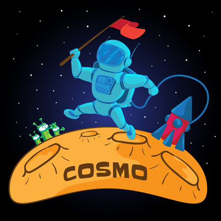 Vector illustration to 12 April Cosmonautics Day. An astronaut or cosmonaut sweeping on the surface of the moon with a red flag in outer space and flying rocket.