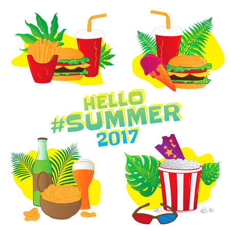 Hello summer. Fast food vector stickers with leafs - ticket, 3d glasses, ice cream, bottle, glass of beer, french fries, chips, hamburger isolated on white background.