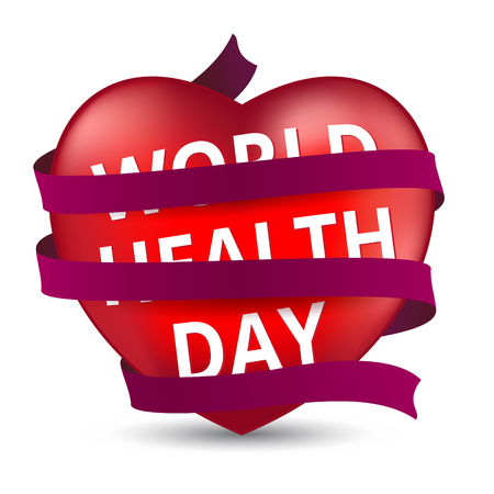Red heart wrapped with a satin ribbon to the world health day. Vector illustration for your design isolated on white background.