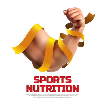 Sports nutrition vector illustration. Biceps of a strong man wrapped in a gold ribbon and isolated on white background