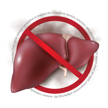 hepatitis prevention: Postcard or banner to the world hepatitis day. Vector illustration of human liver isolated on white background