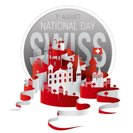 jesuit: Poster or banner to the Switzerland National Day. Swiss cityscape vector illustration with historic buildings and text isolated on white background