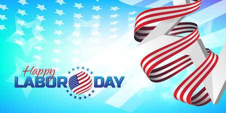 Greeting card or banner in horizontal orientation to Happy Labor Day with white star and striped ribbon Illustration