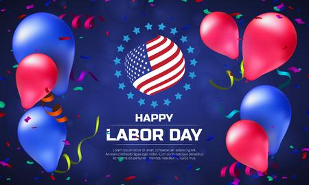 Tarjeta de felicitación o bandera en la orientación horizontal para el día de trabajo feliz con globos y bandera americana Foto de archivo - 84938238