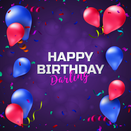 Happy birthday greeting card or banner with colorful balloons, confetti and place for your text. Vector illustration design template