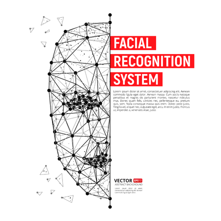Biometrische identificatie of gezichtsherkenningssysteem. Vectorillustratie van menselijk gezicht dat uit veelhoeken, punten en lijnen met plaats voor uw tekst bestaat die op witte achtergrond wordt geïsoleerd
