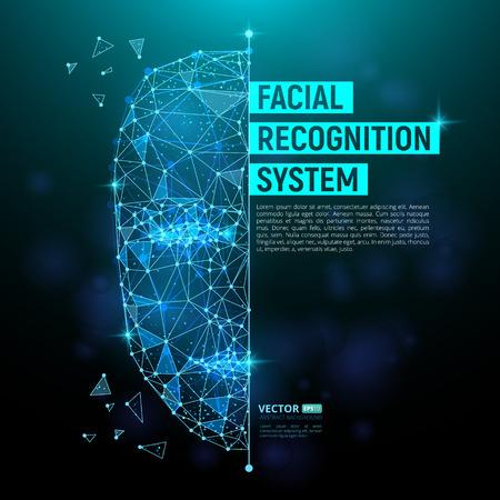 Biometrische Identifikation oder Gesichtserkennungssystemkonzept. Vector Illustration des menschlichen Gesichtes, das aus Polygonen, Punkten und Linien mit Platz für Ihren Text besteht, der auf dunkelblauem Hintergrund lokalisiert wird