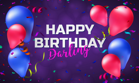 Happy birthday greeting card or banner with colorful balloons, confetti and place for your text. Vector illustration horizontal design template