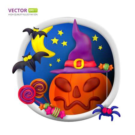 Handmade vector Plasticine round greeting card for Halloween. Vector illustration of moon, bat, pumpkin, spider, candy, hat and lollipop isolated on white background Illustration
