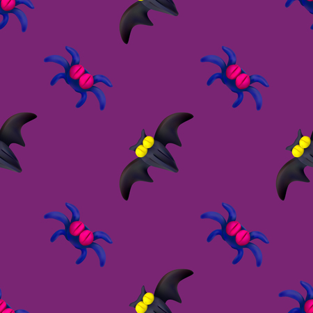 Handmade vector plasticine seamless pattern for Halloween isolated on pink background. Can be used for printing on textile, pattern fills, textures or gift wrap and wallpapers Illustration