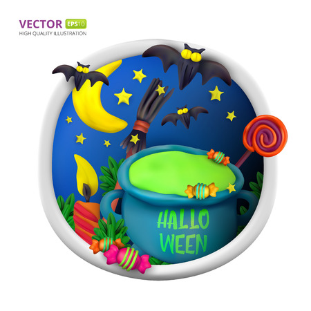 Handmade vector Plasticine round greeting card for Halloween. Vector illustration of moon, bat, cauldron, candle candy, broom and lollipop isolated on white background