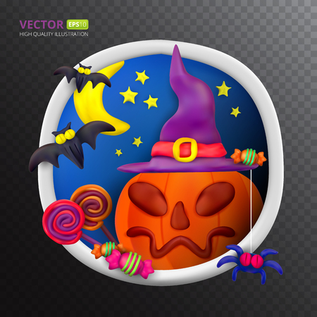 Handmade vector Plasticine round greeting card for Halloween. Vector illustration of moon, bat, pumpkin, spider, candy, hat and lollipop isolated on transparent background