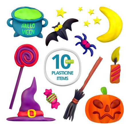 Handmade vector Plasticine set for Halloween. Vector illustration of moon, bat, pot, candle, pumpkin, broom, spider, candy, hat and lollipop isolated on white background Illustration