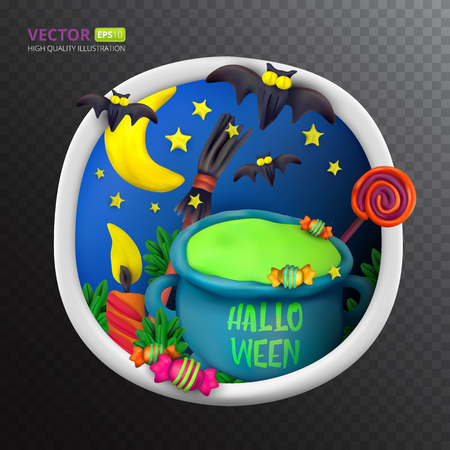 Handmade vector Plasticine round greeting card for Halloween. Vector illustration of moon, bat, cauldron, candle candy, broom and lollipop isolated on transparent background