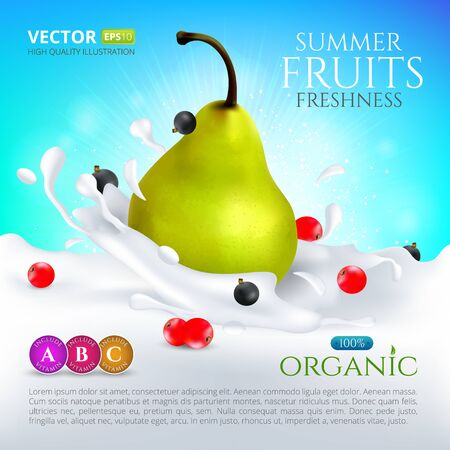 Pear falling in milk or yogurt with splashes and currants berries. Vector high quality realistic illustration for cocktail label packaging Illustration