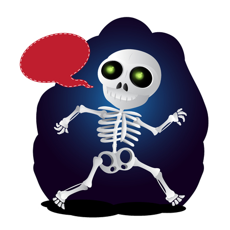 Happy cartoon skeleton runs with speach bubble. Vector illustration to Happy Halloween isolated on white background