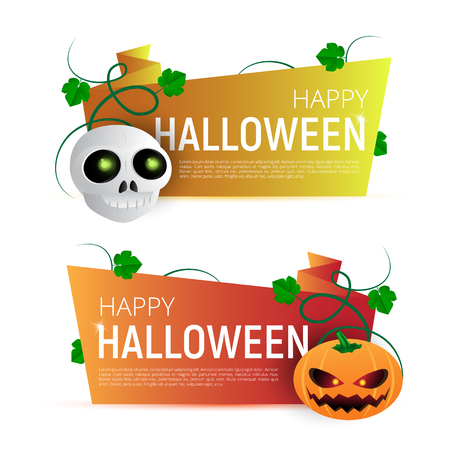 Happy Halloween Sale vector banner or sticker design template with leaves, pumpkin and skull. Great for design your web site or print publications