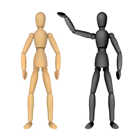 Wooden female or male manikin for drawing with different poses. Realistic vector illustration isolated on white background. Perfect to use for advertising design your web site or print publications