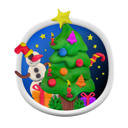 Handmade vector modeling clay round greeting card for Christmas and Happy New year. Vector illustration of Christmas tree with snowman, gift, candle, stars, candy and bell isolated on white background Illustration