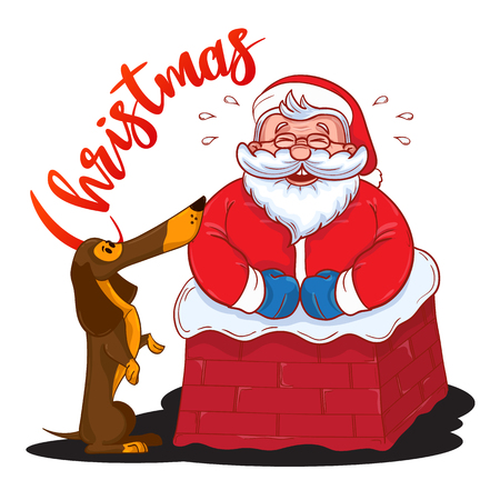 Funny cartoon Santa Claus stuck in the chimney and and brown Dachshund - symbol of the year. Colored Santa Claus isolated on white background. Vector illustration. Perfect for greetting cards design