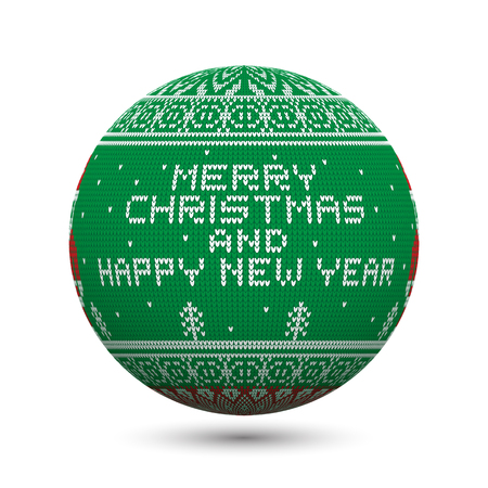 Green knitted christmas ball isolated on white background with nordic ornament and inscription: Merry Christmas and happy new year. Perfect to use for greeting postcards or web banners.