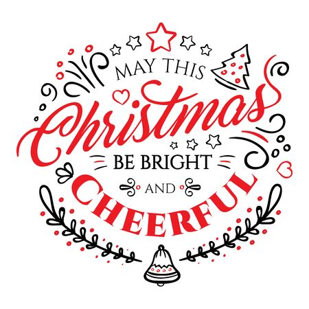 christmastide: Calligraphic lettering for Merry Christmas and Happy New Year isolated on white background. Vector illustration decorated with design elements. Perfect to use for greeting Cards