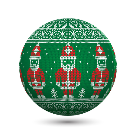 Green knitted christmas ball isolated on white background with Santa Claus and nordic ornament. Perfect to use for greeting postcards or web banners. Illusztráció
