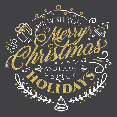 christmastide: Calligraphic lettering for Merry Christmas and Happy New Year with golden glitter effect on dark background. Vector illustration decorated with design elements. Perfect to use for greeting Cards