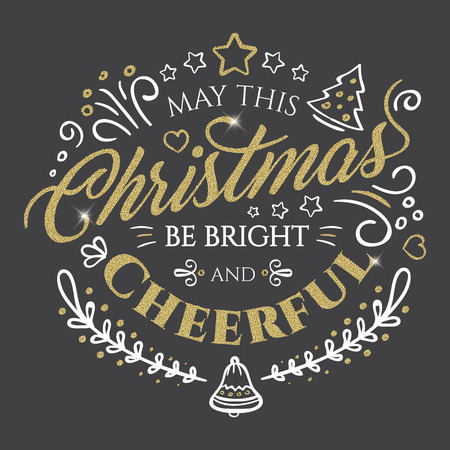 Calligraphic lettering for Merry Christmas and Happy New Year with golden glitter effect on dark background. Vector illustration decorated with design elements. Perfect to use for greeting Cards