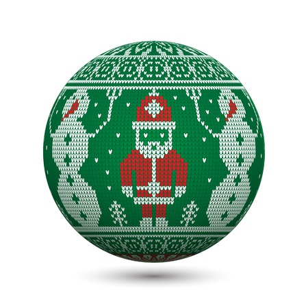 Green knitted christmas ball isolated on white background with Santa Claus and snowman on nordic ornament. Perfect to use for greeting postcards or web banners. Illusztráció
