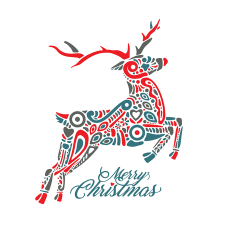 Silhouette of jumping deer with sign Merry Christmas Illusztráció