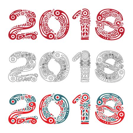 2018 Happy New Year greeting card or banner on white background and filled with decorative pattern or abstract ornament shapes. Perfect to use on advertising desing, greeting cards, banners, flyers Illusztráció