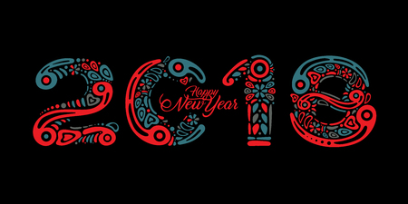 2018 Happy New Year greeting card or banner on black background and filled with decorative pattern or abstract ornament shapes. Perfect to use on advertising desing, greeting cards, banners, flyers Illusztráció