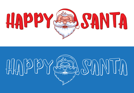 Happy Santa logo design for Christmas greeting cards, gifts, banners, tags and labels. Funny cartoon character illustration with text isolated on white background. EPS 10 vector illustration.