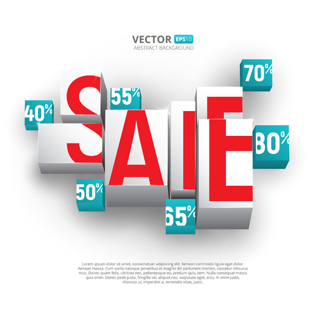 Sale poster or banner with cubes and percents on white background. Vector design template for discounts and sales