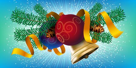 Christmas decor element design, realistic new year tree holiday decoration with Christmas balls, golden bell and red ribbon. Vector illustration on colorful background