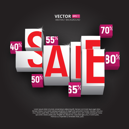 Sale poster or banner with cubes and percents on black background. Vector design template for discounts and sales