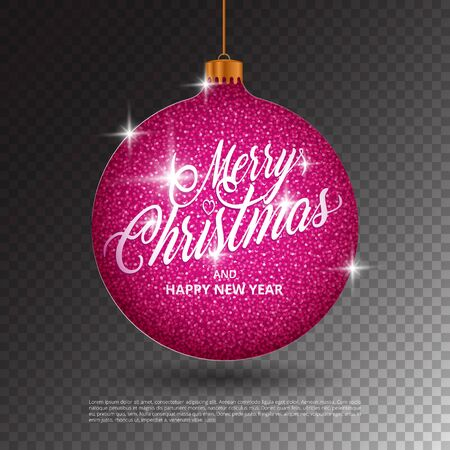 Hanging Christmas ball with sparkling metal glitter effect and Merry Christmas lettering on transparent background. Perfect to use for holidays greeting cards, flyers, banners, gift tags and labels. Illusztráció